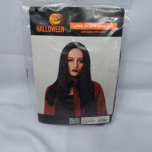 ⭐🎃 Halloween Long Black Hair Wig Costume New